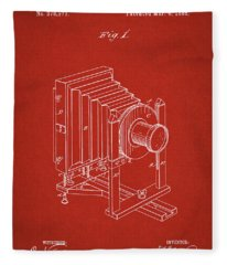 1888 Camera Us Patent Invention Drawing - Red Fleece Blanket
