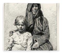 1896 Wood Engraving Gaston Vuillier Corsican Woman Child Native Portrait Fleece Blanket