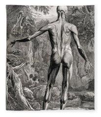 18th Century Anatomical Engraving Fleece Blanket