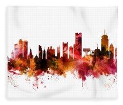 Boston Massachusetts Skyline Fleece Blanket