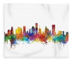 Houston Texas Skyline Fleece Blanket