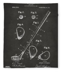 1910 Golf Club Patent Artwork - Gray Fleece Blanket