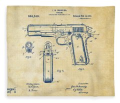 1911 Colt 45 Browning Firearm Patent Artwork Vintage Fleece Blanket