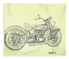 1920 Indian Motorcycle Graphite Pencil - Aged  Fleece Blanket