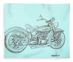 1920 Indian Motorcycle Graphite Pencil Sketch - Blue Background Fleece Blanket