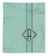 1920s Blue Deco Jazz Swing Monogram ...letter A Fleece Blanket