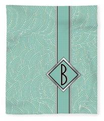 1920s Blue Deco Jazz Swing Monogram ...letter B Fleece Blanket