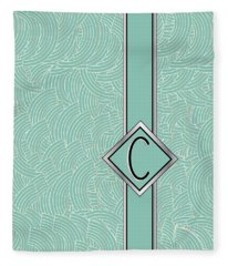 1920s Blue Deco Jazz Swing Monogram ...letter C Fleece Blanket