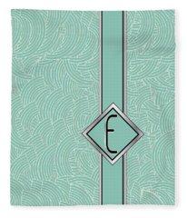 1920s Blue Deco Jazz Swing Monogram ...letter E Fleece Blanket