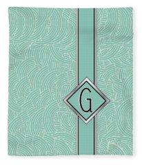 1920s Blue Deco Jazz Swing Monogram ...letter G Fleece Blanket