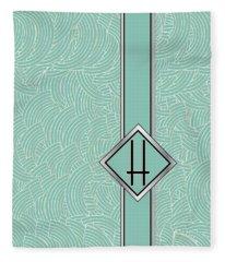 1920s Blue Deco Jazz Swing Monogram ...letter H Fleece Blanket