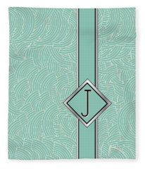 1920s Blue Deco Jazz Swing Monogram ...letter J Fleece Blanket