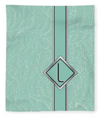 1920s Blue Deco Jazz Swing Monogram ...letter L Fleece Blanket