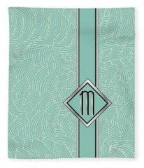 1920s Blue Deco Jazz Swing Monogram ...letter M Fleece Blanket