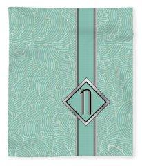 1920s Blue Deco Jazz Swing Monogram ...letter N Fleece Blanket