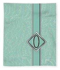 1920s Blue Deco Jazz Swing Monogram ...letter O Fleece Blanket