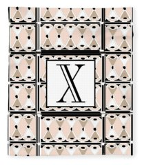1920s Pink Champagne Deco Monogram  X Fleece Blanket