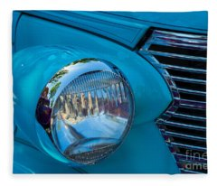 1936 Chevy Coupe Headlight And Grill Fleece Blanket