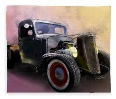 1936 Chevy Rat Rod Pickup Watercolour Fleece Blanket