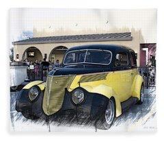 1937 Ford Deluxe Sedan_a2 Fleece Blanket