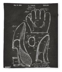 1941 Baseball Glove Patent - Gray Fleece Blanket