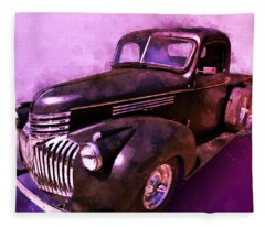 1942 Chevy Vent Window Pickup Watercolour Illustration Fleece Blanket