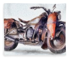1942 Harley Davidson, Military, 750cc Fleece Blanket