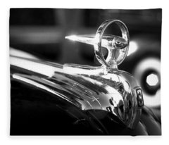 1946 Ford V8 Hood Ornament Fleece Blanket