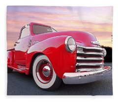 1950 Chevy Pick Up At Sunset Fleece Blanket