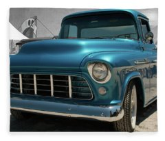 1955 Blue Chevy 3100 Pickup Fleece Blanket