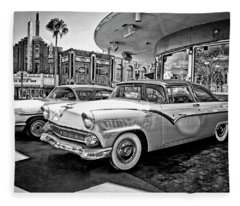 1955 Fairlane Crown Victoria Bw Fleece Blanket