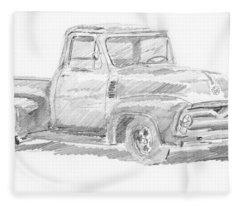 1955 Ford Pickup Sketch Fleece Blanket