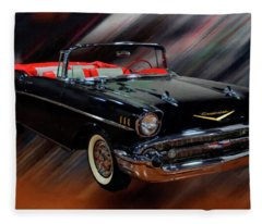 1957 Chevy Bel Air Convertible Digital Oil Fleece Blanket