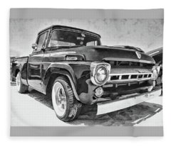 1957 Ford F100 In Black And White Fleece Blanket
