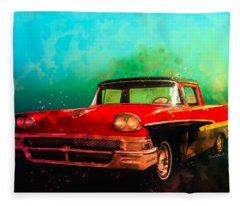 1958 Ford Ranchero Watercolour Fleece Blanket