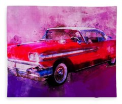 1958 Oldsmobile Hardtop With Continental Kit In Tow Fleece Blanket