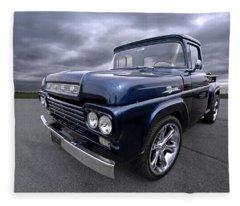 1959 Ford F100 Dark Blue Pickup Fleece Blanket