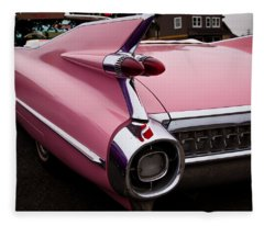 1959 Pink Cadillac Convertible Fleece Blanket
