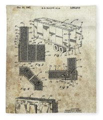 1961 Semi Truck Patent Fleece Blanket