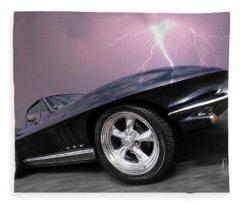 1966 Corvette Stingray With Lightning Fleece Blanket