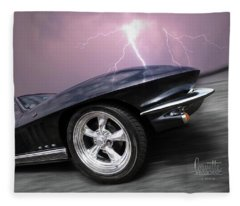 1966 Corvette Stingray With Lightning Fleece Blanket