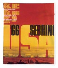 1966 Porsche 12 Hours Of Sebring Fleece Blanket