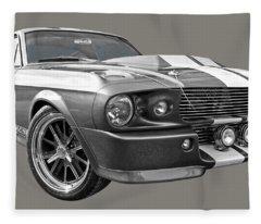 1967 Eleanor Mustang In Black And White Fleece Blanket