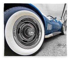 1968 Corvette White Wall Tires Fleece Blanket
