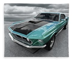 1969 Green 428 Mach 1 Cobra Jet Ford Mustang Fleece Blanket