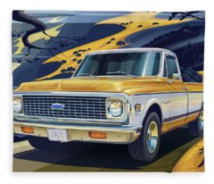 Truck Digital Art Fleece Blankets