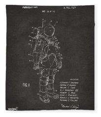 1973 Space Suit Patent Inventors Artwork - Gray Fleece Blanket