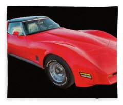 1977 Chevy Corvette T Tops Digital Oil Fleece Blanket