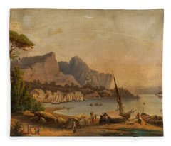 19th Century Continental School Fishermen At The Bay Fleece Blanket