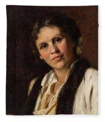 19th Century Russian Artist, Circle Of Isaak Levitan 1860-1900 Portrait Of Sofia Kuvshinnikova, 18 Fleece Blanket